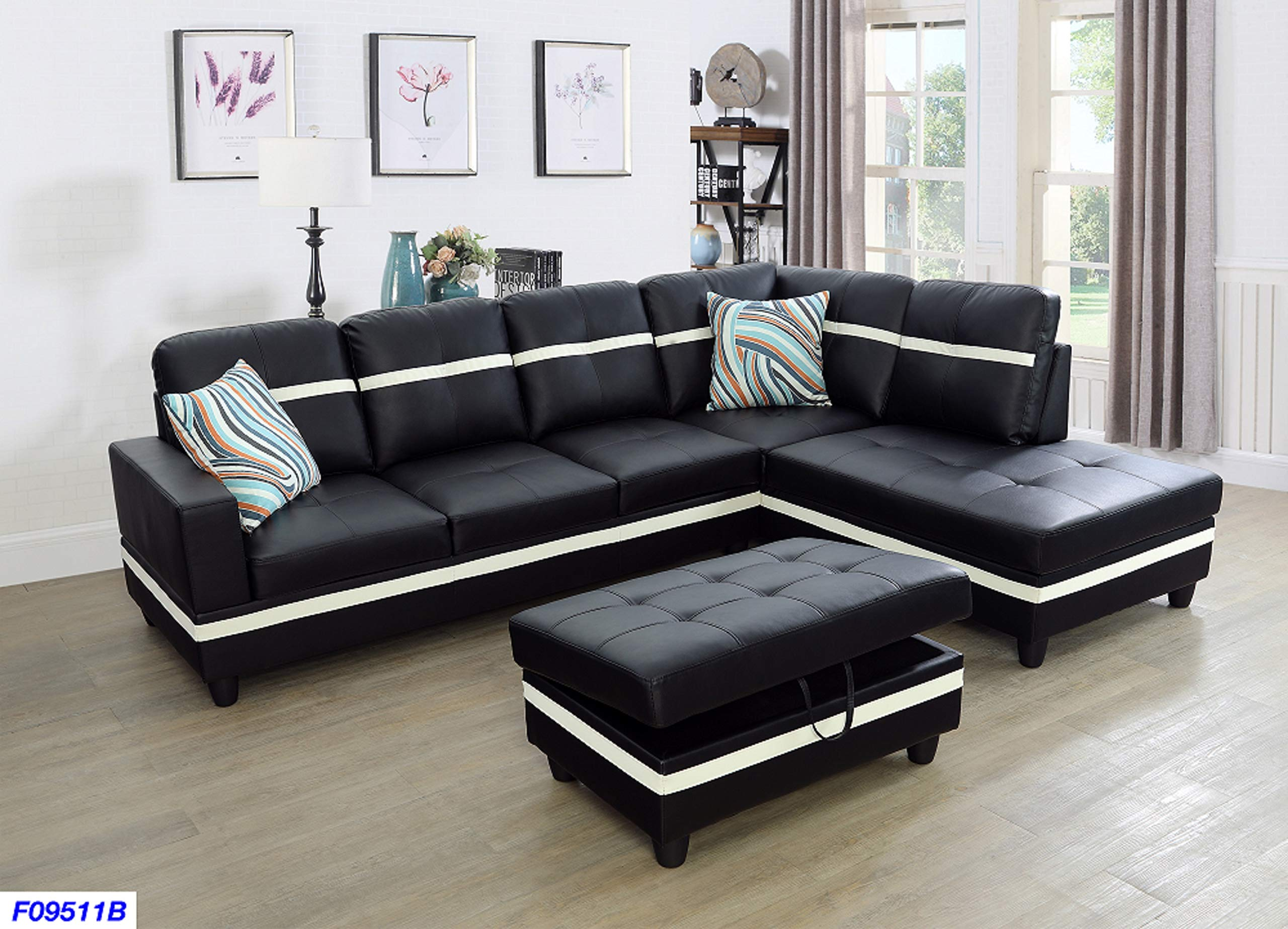 Beverly Fine Funiture Sectional Sofa Set, Black with White Stripe by Beverly Fine Funiture