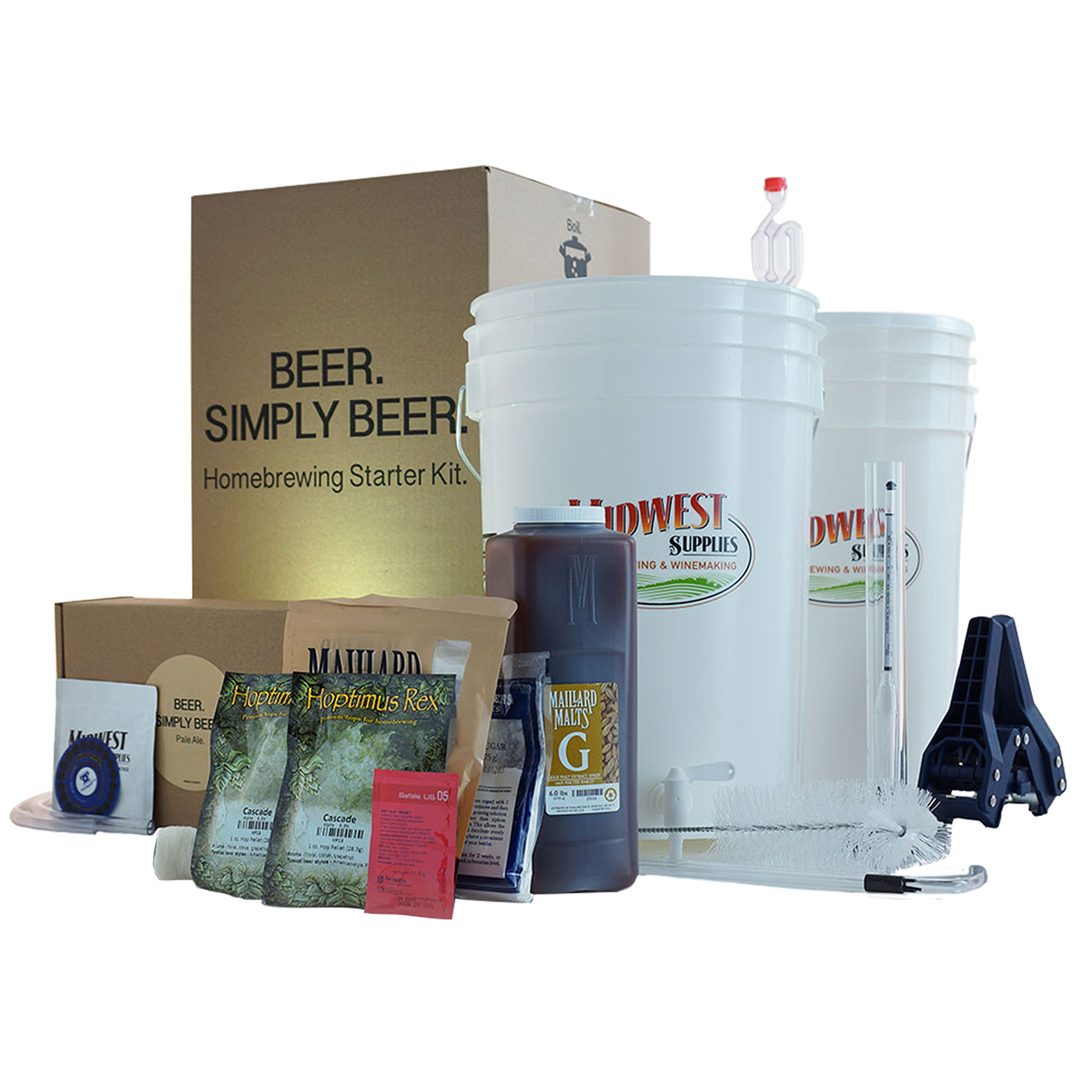 Beer. Simply Beer. - HomeBrewing Beer Brewing Starter Kit - 5 Gallons Beer Making Pale Ale Recipe Kit With 6.5 Gallon Fermenting Bucket Equipment