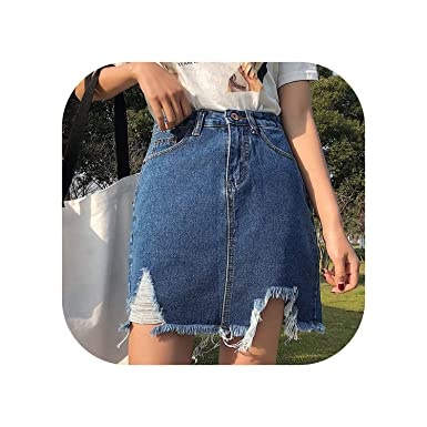 2cb4401102 Vintage Ripped Sexy Short Mini Jeans Skirts Girls High Waist Hole Tassel  Fashion Summer Women Denim