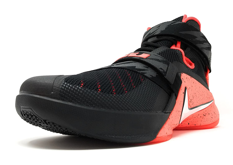 sale retailer 3583b f8fce nike lebron soldier IX PRM mens hi top basketball trainers 749490 sneakers  shoes (uk 10 us 11 eu 45, black white bright crimson 016)