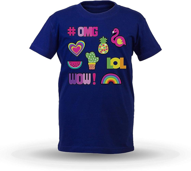 KrisTalas niños Camiseta de Las niñas OMG Wow LOL Hashtags Watermelon Flamingo Crazy T-Shirt Azul 1/2 AÑOS: Amazon.es: Ropa y accesorios