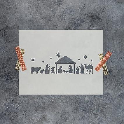amazon com nativity scene stencil template reusable stencil with