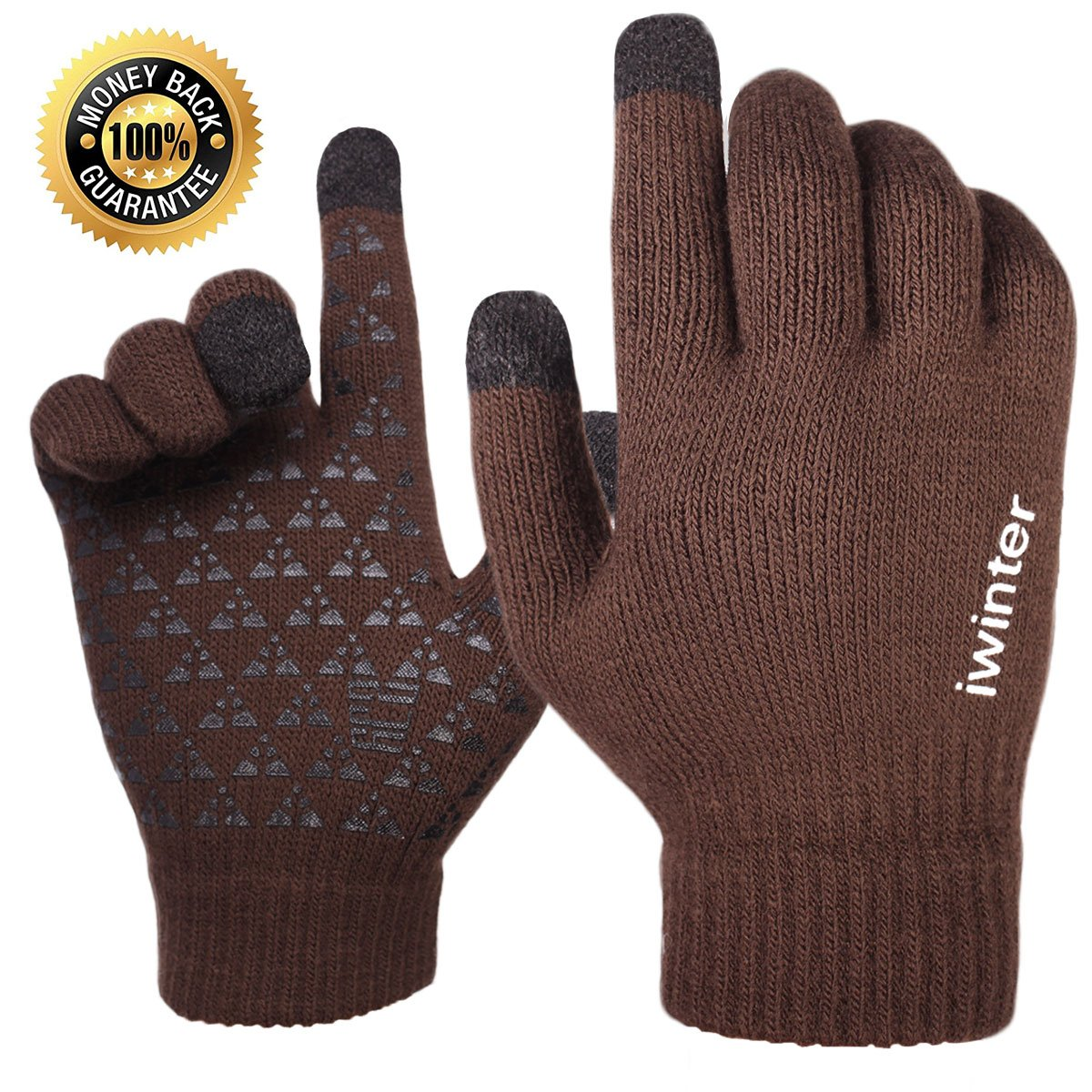 ca1c54c367d9e Achiou Winter Knit Gloves Touchscreen Warm Thermal Soft Lining Elastic Cuff  Texting Anti-Slip 3 Size ...