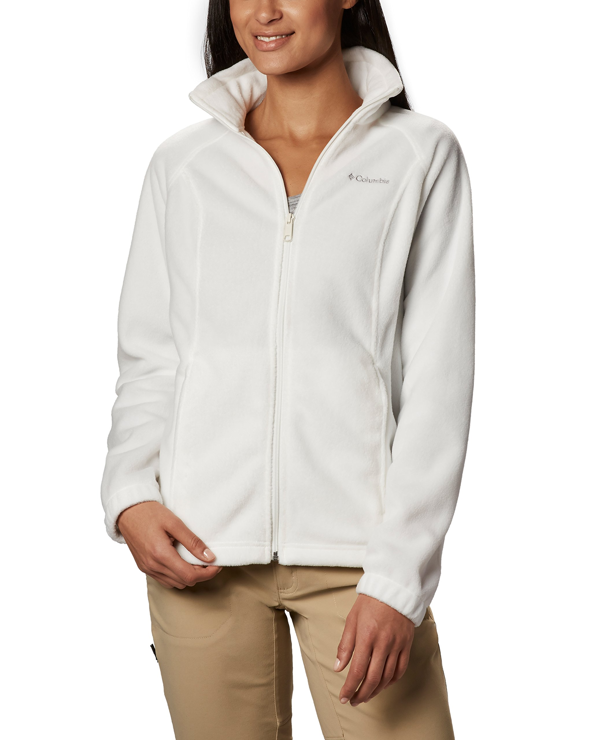 Columbia Women's Benton Springs Classic Fit Full Zip Soft Fleece Jacket, Sea Salt XS