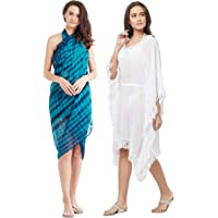 SOURBH Beach Wear Kaftan & Sarong for Women Combo Value Pack Body Wrap Swim Coverup, S1_SK434, White & Blue, Set of 2, Free Size