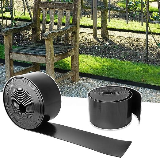 YAOBLUESEA Bordes de jardín bordes para jardín bordes jardín borde jardín plástico PVC 25mx10cm Negro: Amazon.es: Jardín