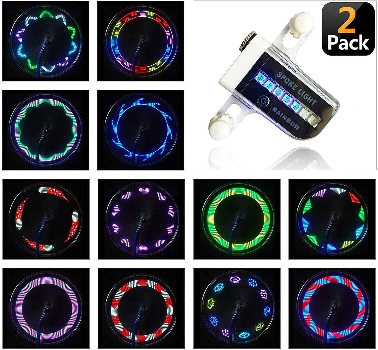 AIKELIDA Bike Wheel Lights - Waterproof Ultra Bright 14 LED Bicycle Wheel Spoke Decorations Light - 30 Different Patterns Change - Colorful Bicycle Tire Accessories - Easy to Install (2 Pack)
