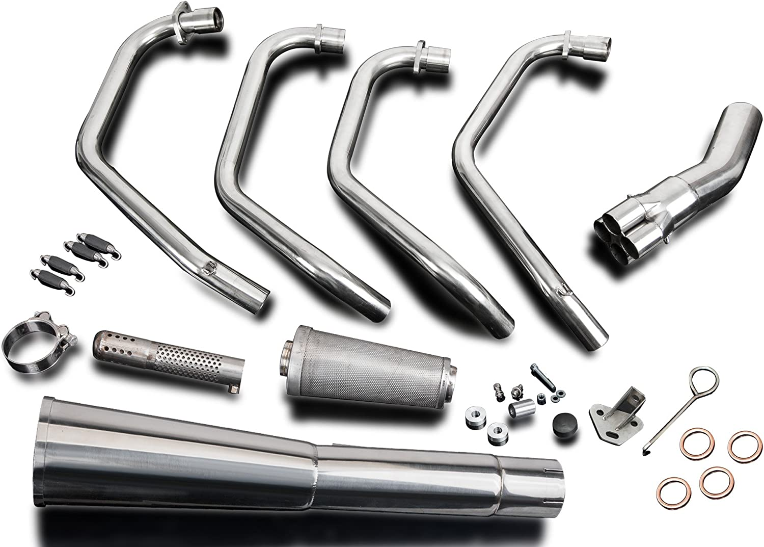 with Classic Megaphone Muffler and Stainless Steel 4-1 Headers 1977-1978 Delkevic Aftermarket Full System compatible with Honda CB750K SOHC
