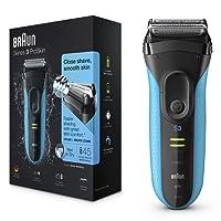 Braun Series3 ProSkin 3040s - Afeitadora eléctrica para hombre, máquina de afeitar barba inalámbrica y recargable, Wet&Dry, color negro y azul