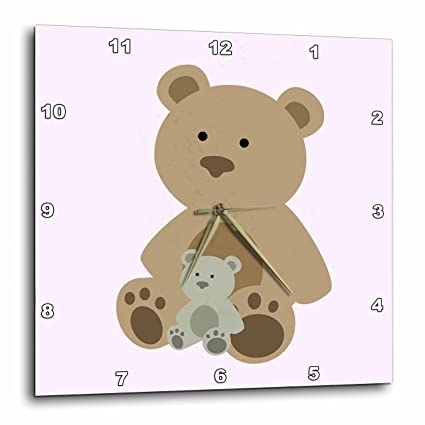 3dRose DPP_212048_1 Teddy Bear Pink Kids Room Decoration Wall Clock, 10 by 10