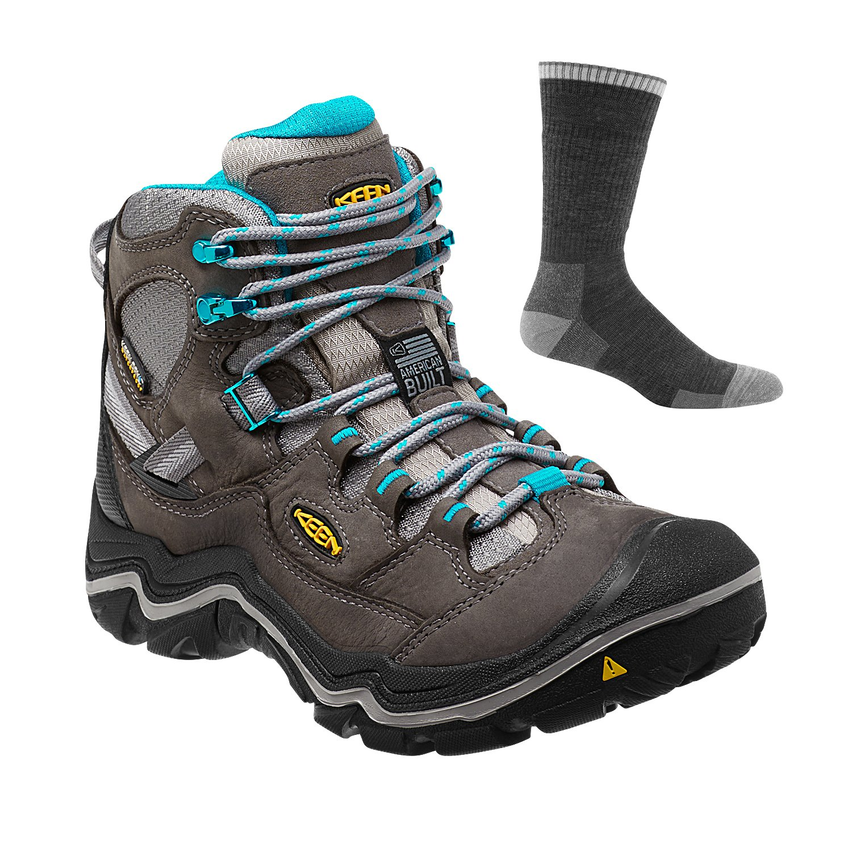 4467088315e KEEN Women's Durand Mid WP Hiking Boot Gargoyle/Capri Breeze w/Sock ...