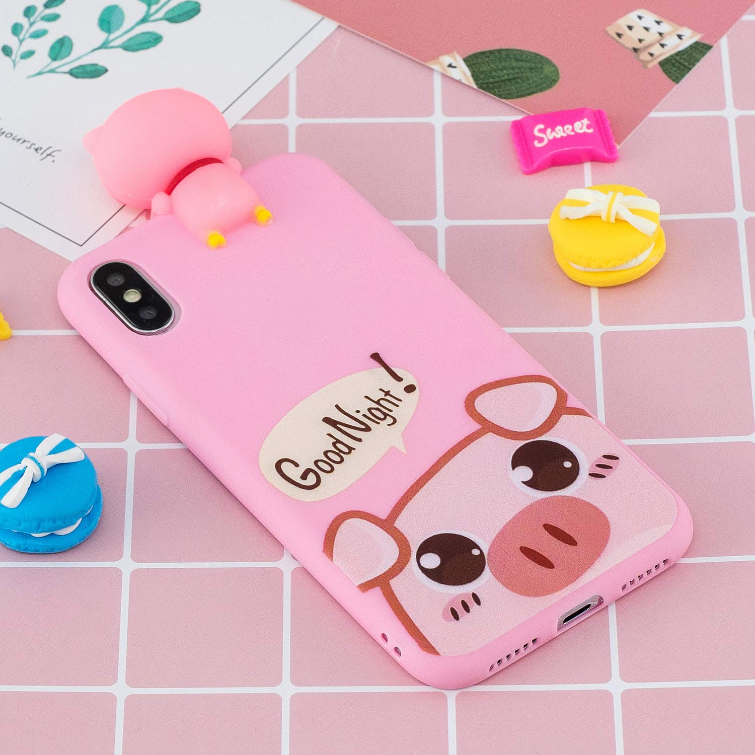 2018 Release iPhone Xs Max Case,DAMONDY Cute 3D Cartoon Animals Pattern Design Soft Silicone Gel Slim Rubber Thin Protective Cover Phone Case for iPhone Xs Max 6.5 Inch -Cute Pig