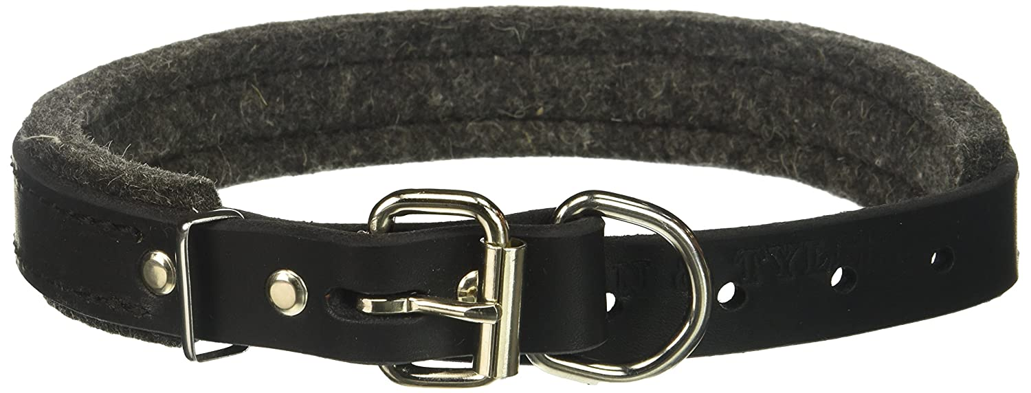 Dean and Tyler DT DELIGHT , Leather Dog Collar with Felt Padding and Strong Hardware  Black  Size 20Inch by 1Inch  Fits Neck 18Inch to 22Inch