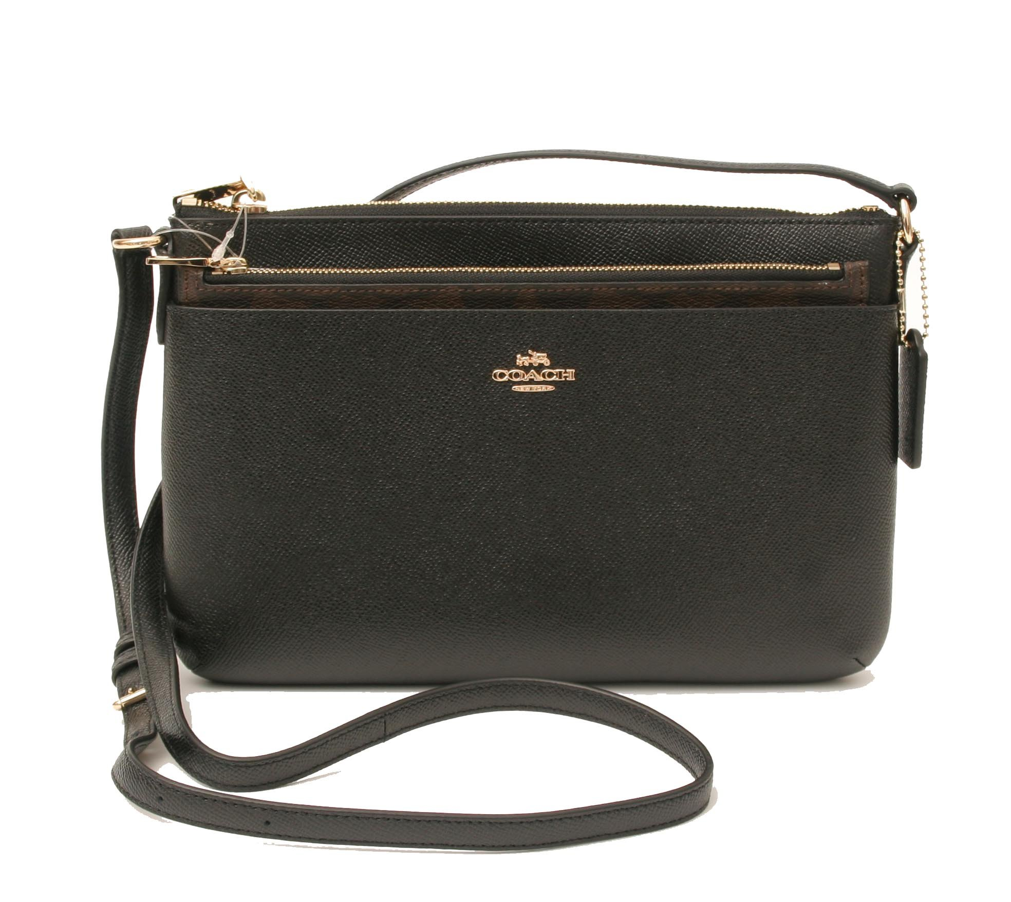 COACH Crossgrain Leather E/W Pop Crossbody (Black)