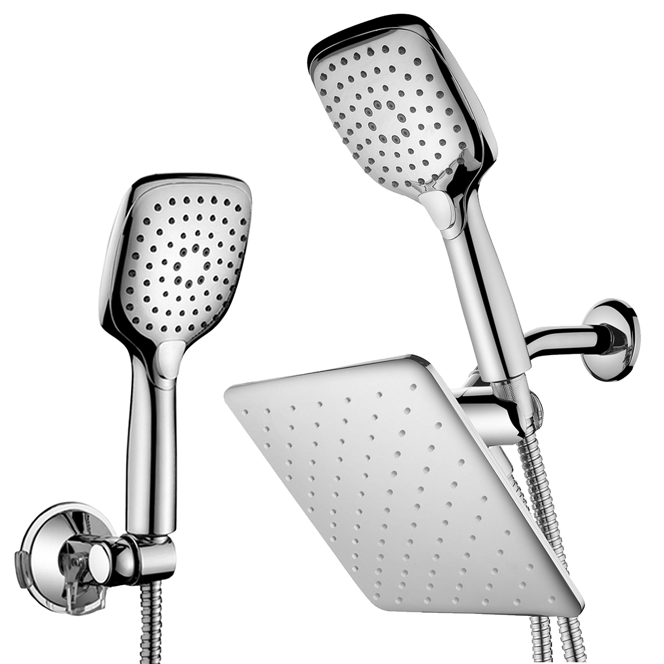 HotelSpa 10.5-in Rain Shower Head/Handheld Combo. Convenient Push-Button Flow Control Button for easy one-handed operation. Switch flow settings with the same hand! Low-Reach Bracket included