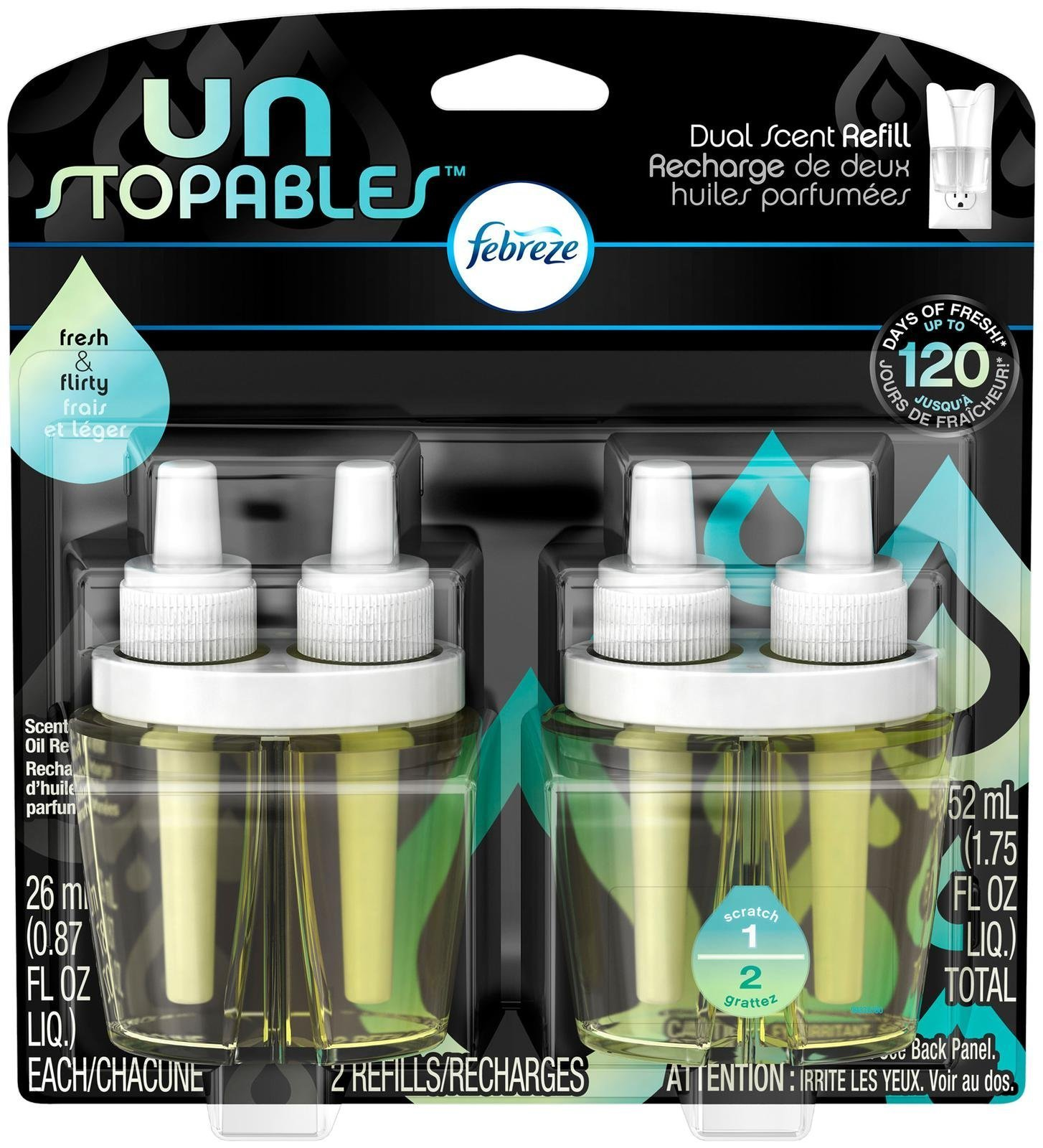 Febreze Unstoppables Fresh Pluggable Scented Oil Refills Air Freshener (2 Count, 1.75 Oz), 0.11 Pound