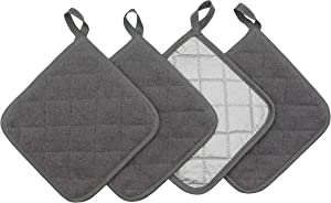 GQZLUCK 100% Cotton Pot Holders Cotton Made Machine Washable Heat Resistant Everyday Kitchen Basic Terry Pot Holder, Hot Pads, Trivet for Cooking and Baking Set of 4 (Grey)