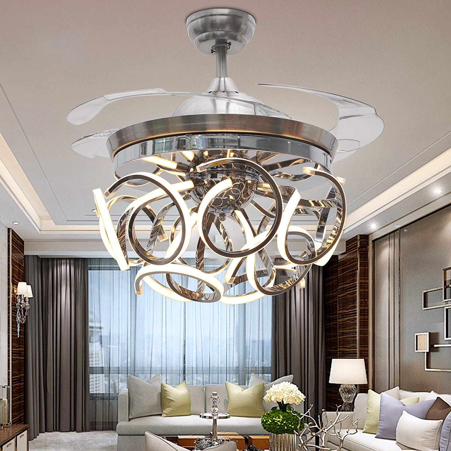 TiptonLight Ceiling Fan with 4 Plastic Folding Blades Irregular Shape with White Warm Nuetral Light Remote Control 42 Inch Ceiling Fan Light