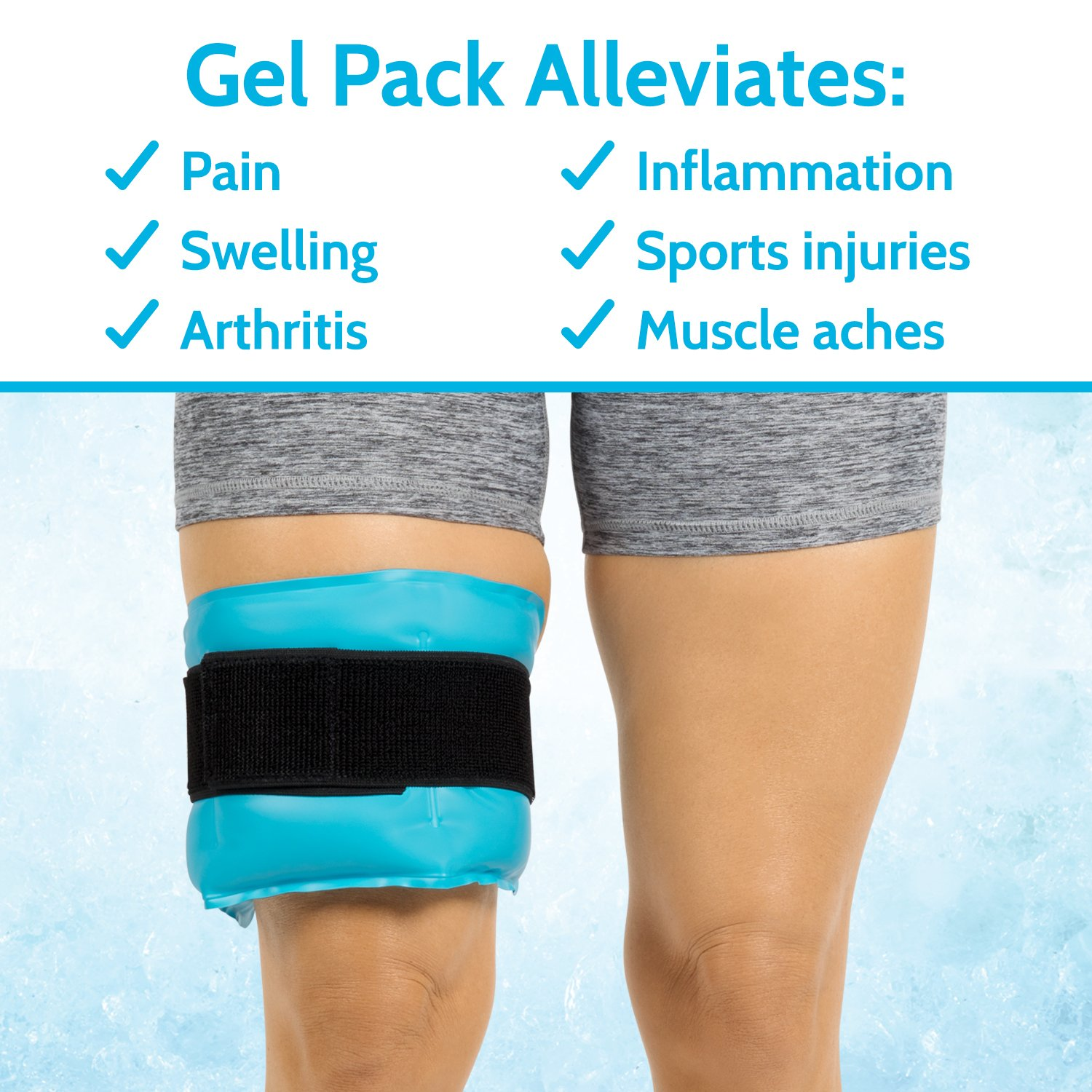Arctic Flex Hot Cold Therapy Wrap - Reusable Gel Ice and Heat Compress Pack with Strap for Muscle, Injuries, Back, Neck Aches, Knee, Ankle, Calves, Elbow Pain Relief - Microwaveable Blue Pad, Flexible by Arctic Flex (Image #8)