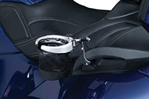 Kuryakyn 1785 Motorcycle Accessory: Passenger Drink/Cup Holder with Mesh Basket for 2010-18 Can-Am Spyder RT Motorcycles, Chrome