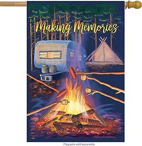 "Briarwood Lane Making Memories Fall House Flag Campfire Marshmallows 28"" x 40"""