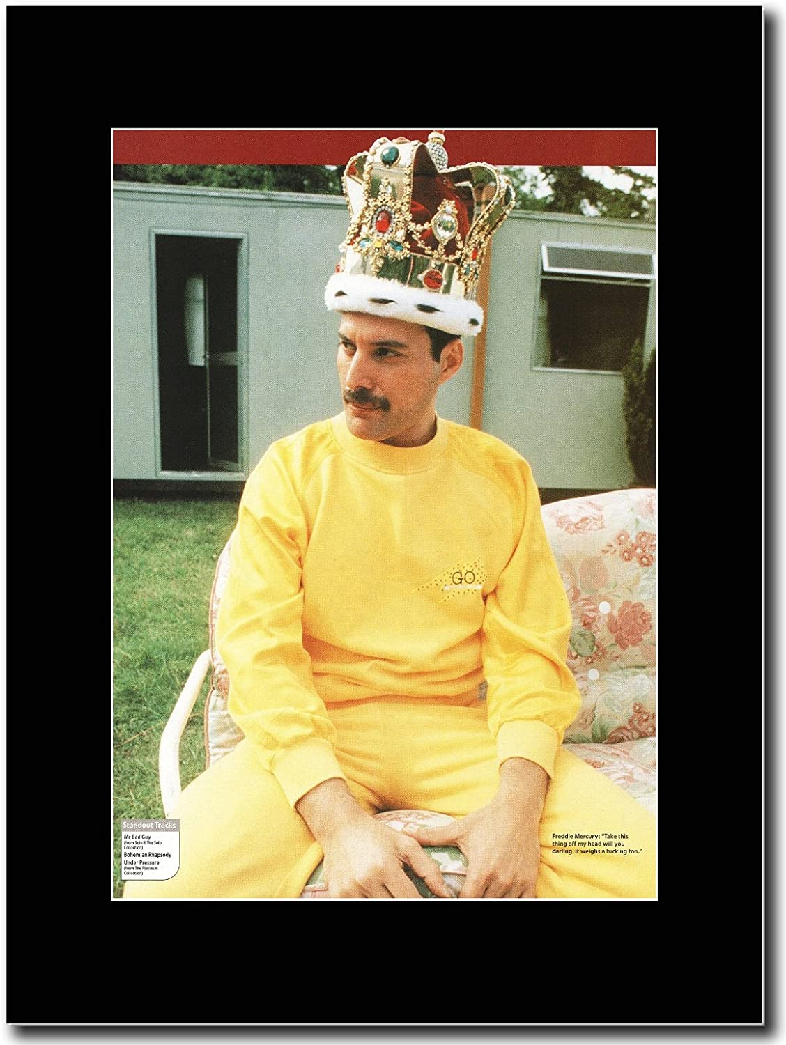 gasolinerainbows queen freddie mercury wembley back stage queen matted mounted magazine promotional artwork on a black mount amazon co uk kitchen home matted mounted magazine promotional