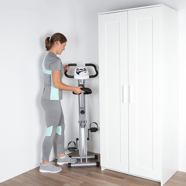 Silber klappbar Fahrradtrainer Ultrasport F-Bike belastbar bis 100 kg faltbares Fitnessfahrrad mit Trainingscomputer und Handpulssensoren Heimtrainer