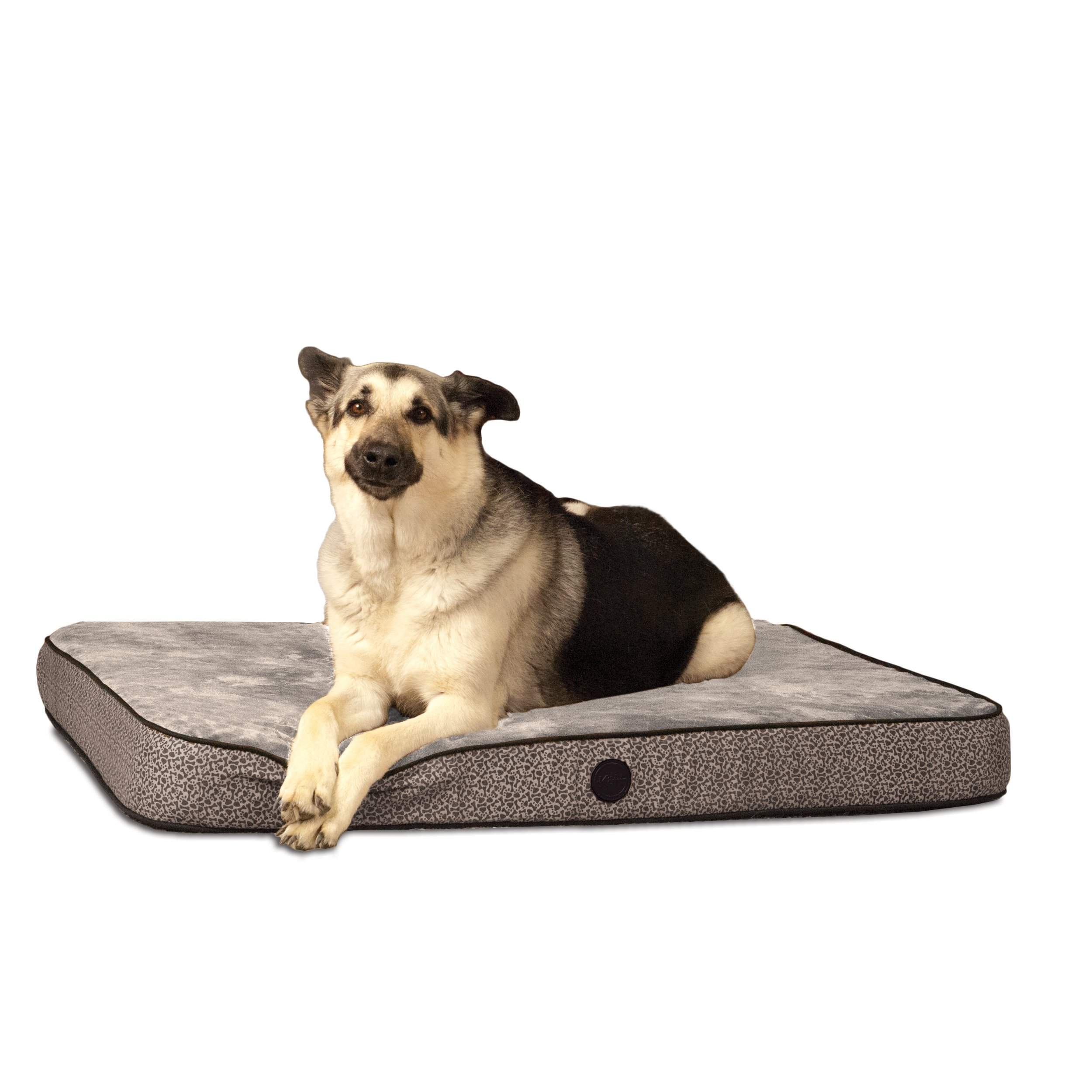 K&H Pet Products Superior Orthopedic Pet Bed Medium Gray Paw/Bone Print 30'' x 40''