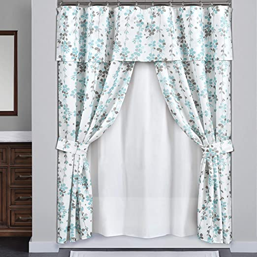Amazon.com: Lush Decor Weeping Flora Double Swag Shower Curtain