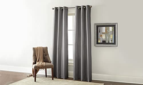 Amrapur Overseas Faux Silk Blackout Curtain Panel Pair, 37 x 84, Charcoal