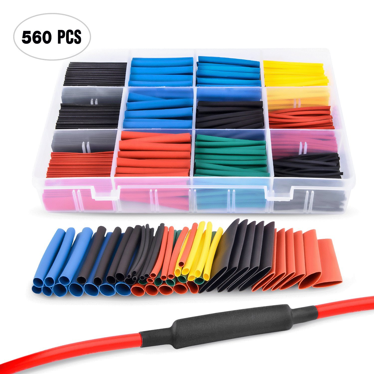 Nilight 50005R Heat Shrink 2:1 Electric Insulation Tube Kit 45mm Flame Retardant Wrap Cable Sleeve 560pcs 5 Colors 12 Sizes with Storage Box,2 Years Warranty