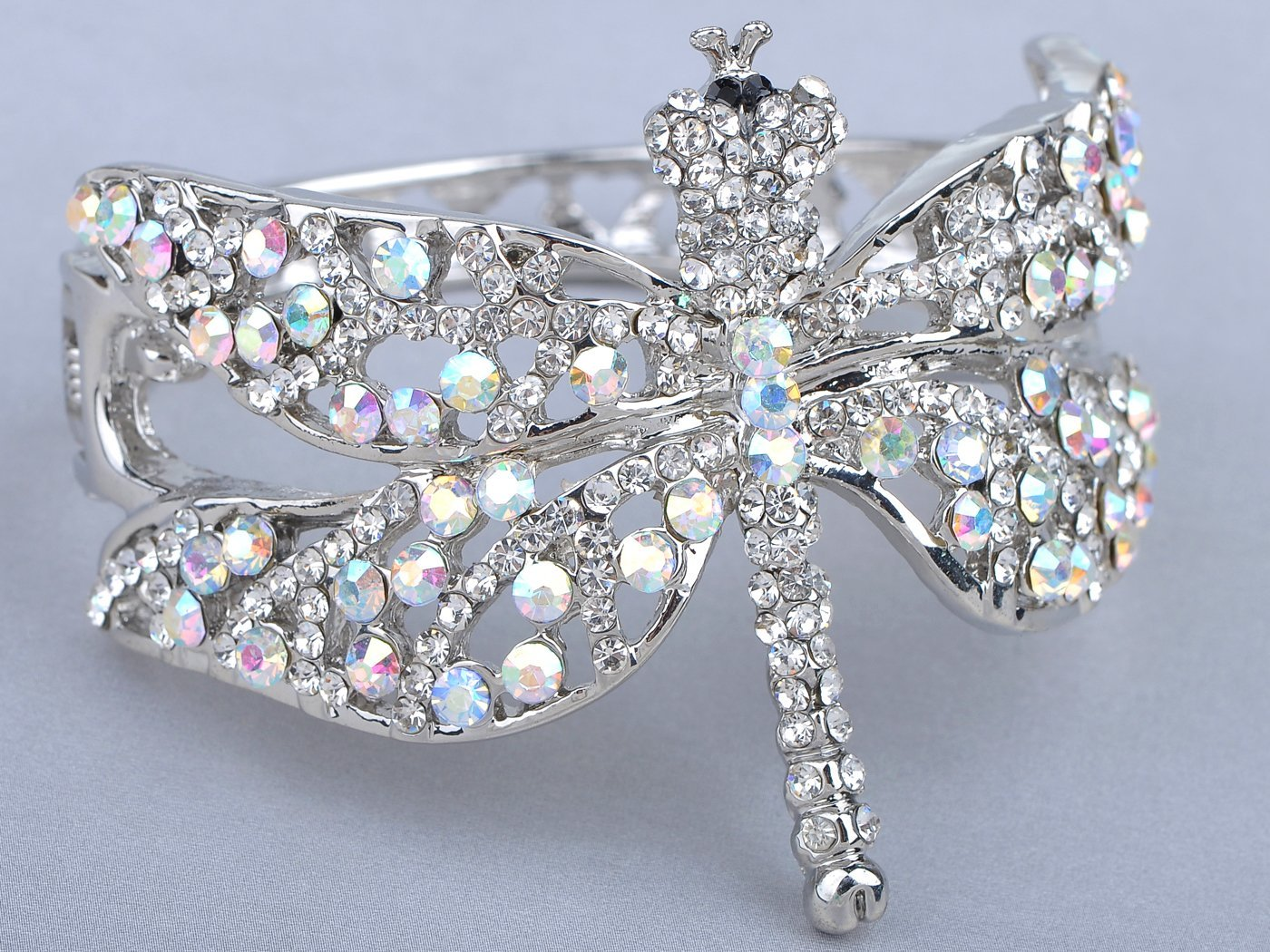 Alilang Womens Silvery Tone Clear Rhinestones Dragonfly Heart Cutout Bangle Bracelet by Alilang (Image #4)