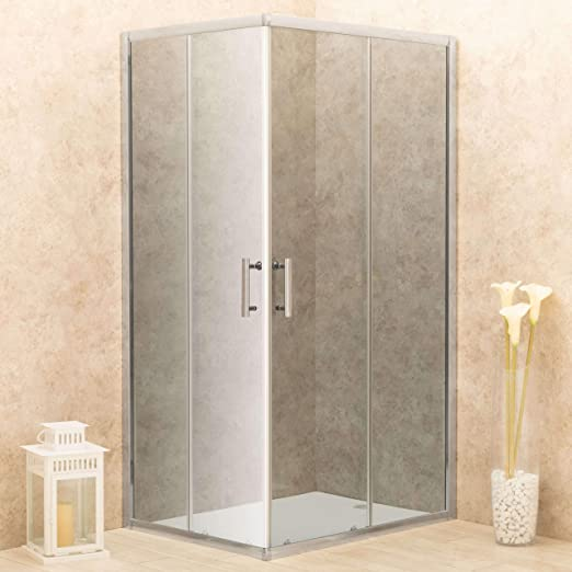 vorich Box ducha angular 2 puertas correderas de cristal ahumado 6 ...