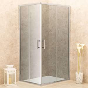 vorich Box ducha angular 2 puertas correderas de cristal ahumado 6 mm h185 cm Itria Varios Tamaños: Amazon.es: Hogar