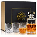 KANARS WD02 Jarra de Whisky, 5 Piezas, 100% Libre de Plomo Cristalino Resistente Botella de Whisky Set para Scotch…