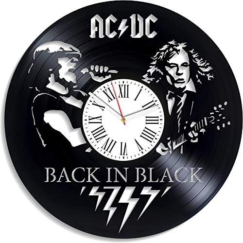 Kovides ACDC LP Vinyl Record Wall Clock 12 Inch Rock Music Band Design Home Decor Gift