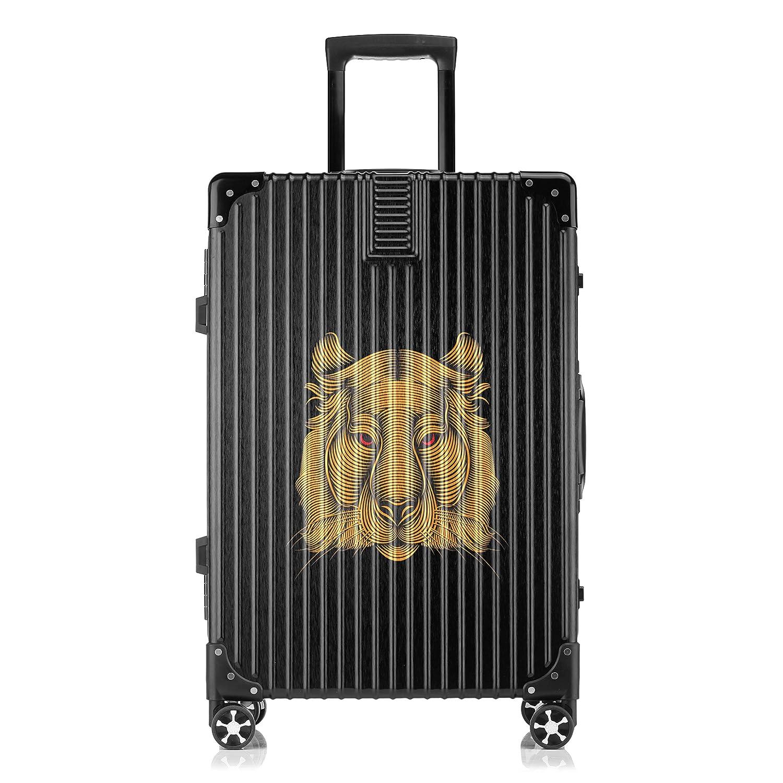 GSHCJ スーツケース カッコイイ動物 トラ キャリーケース 20インチ おしゃれ ブラック Tsaロック搭載 プリント ハード 超軽量 軽い 機内持込 ロックファスナー 旅行 ビジネス 出張 海外 修学旅行 丈夫 便利 レディース メンズ 学生 B07S19HZJR