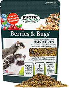 Berries & Bugs - All Natural High Protein High Fiber Food for Hedgehogs, Skunks, Opossums, Sugar Gliders - Universal Insectivore Diet with Fruit, Gut-Loaded Insects, & Healthy Vitamins (1.5 lb)