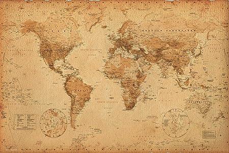 World map vintage style poster print amazon home kitchen gumiabroncs Gallery
