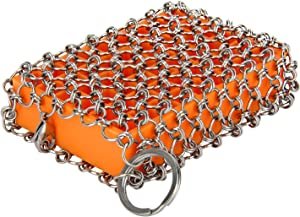 Blisstime Cast Iron Cleaner Premium 316 Stainless Steel Chainmail Scrubber with Silicone Insert for Cast Iron Skillet Pans