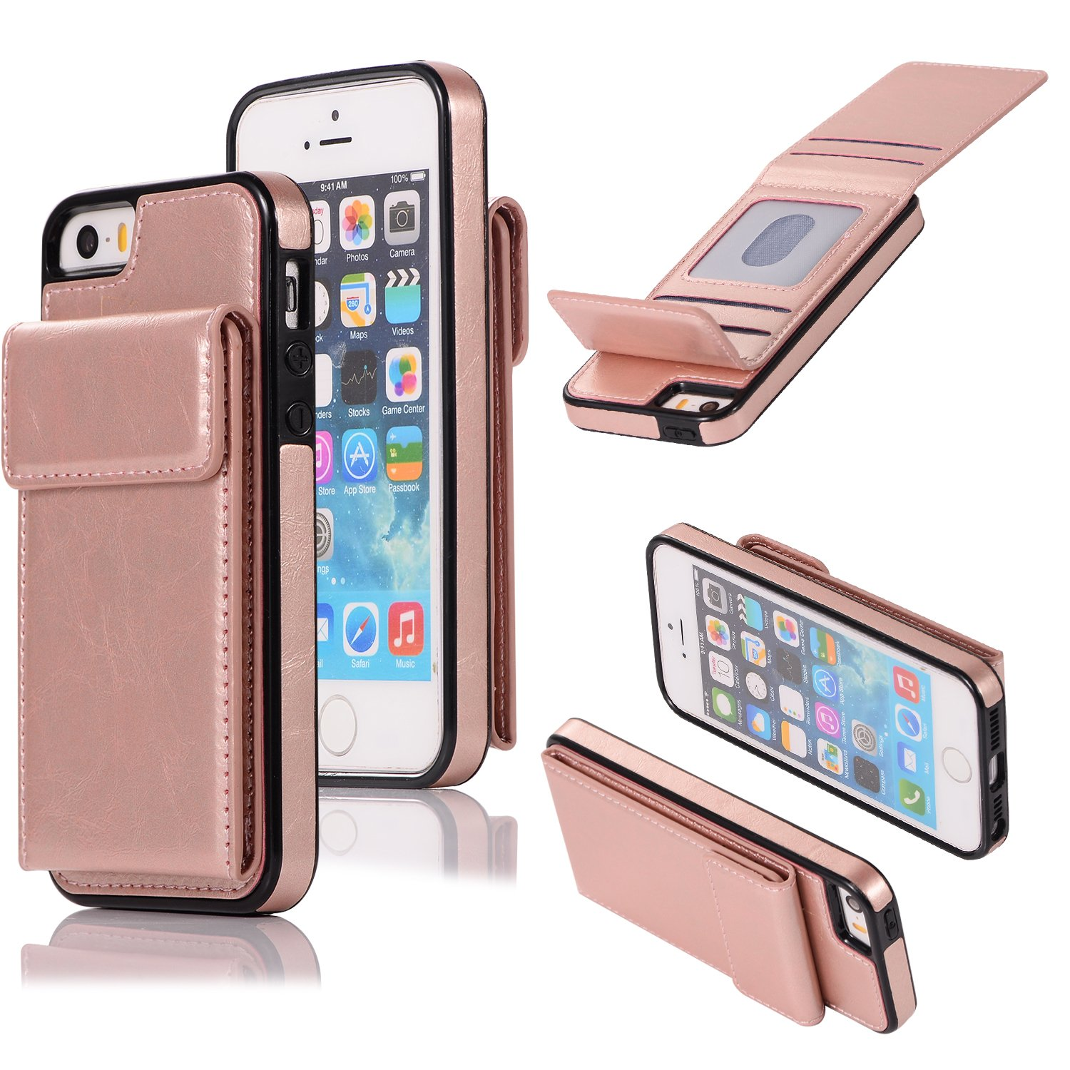 DAMONDY Wallet Case for iPhone 5S,iPhone 5,iPhone SE,Luxury Wallet Purse Card Holders Design Cover Soft Shockproof Bumper Folio Flip Leather Kickstand Case for iPhone SE 5S 5-Rose Gold by DAMONDY