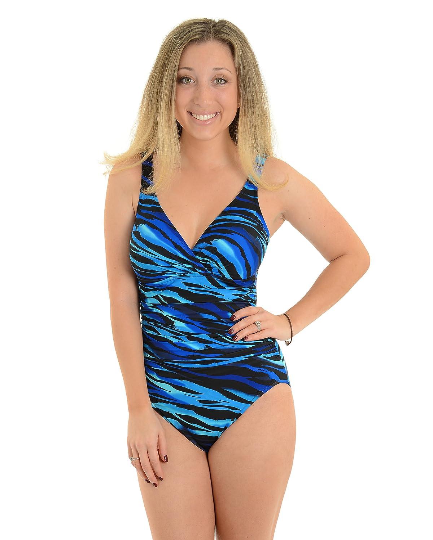 Miraclesuit Womens 1 Piece Swimsuit Slimming Swim Wear Blue Print Swimwear