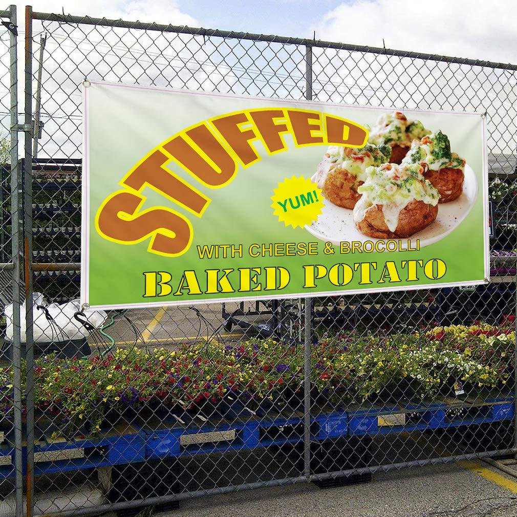 Set of 2 Vinyl Banner Sign Stuffed Baked Potato Restaurant Cafe Bar Style U Marketing Advertising 32inx80in Multiple Sizes Available 6 Grommets