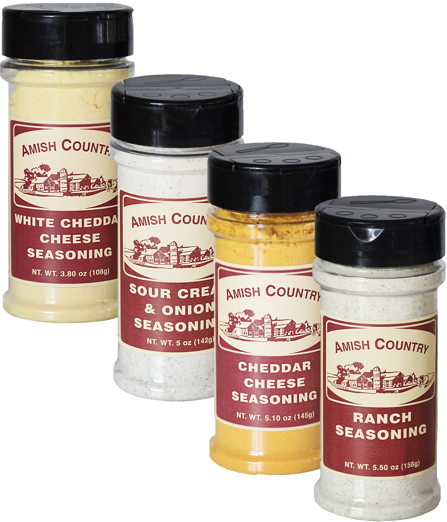 Amish Country Popcorn   Seasoning Variety Pack   4 Bottles   White Cheddar - Cheddar Cheese - Sour Cream & Onion -Ranch   Nut Free   Old Fashioned with Recipe Guide