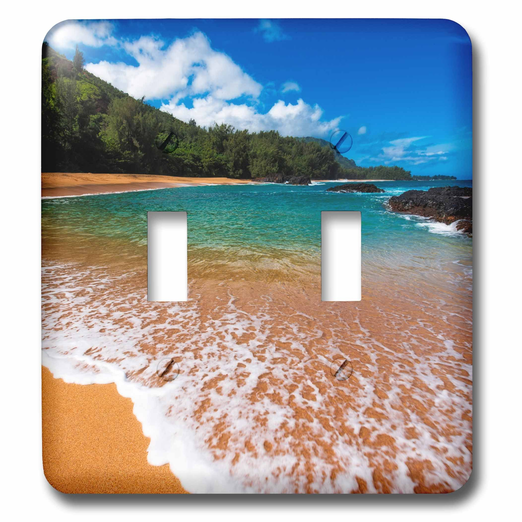 3dRose Danita Delimont - Beaches - Sand and surf at Lumahai Beach, Island of Kauai, Hawaii, USA - Light Switch Covers - double toggle switch (lsp_278945_2)