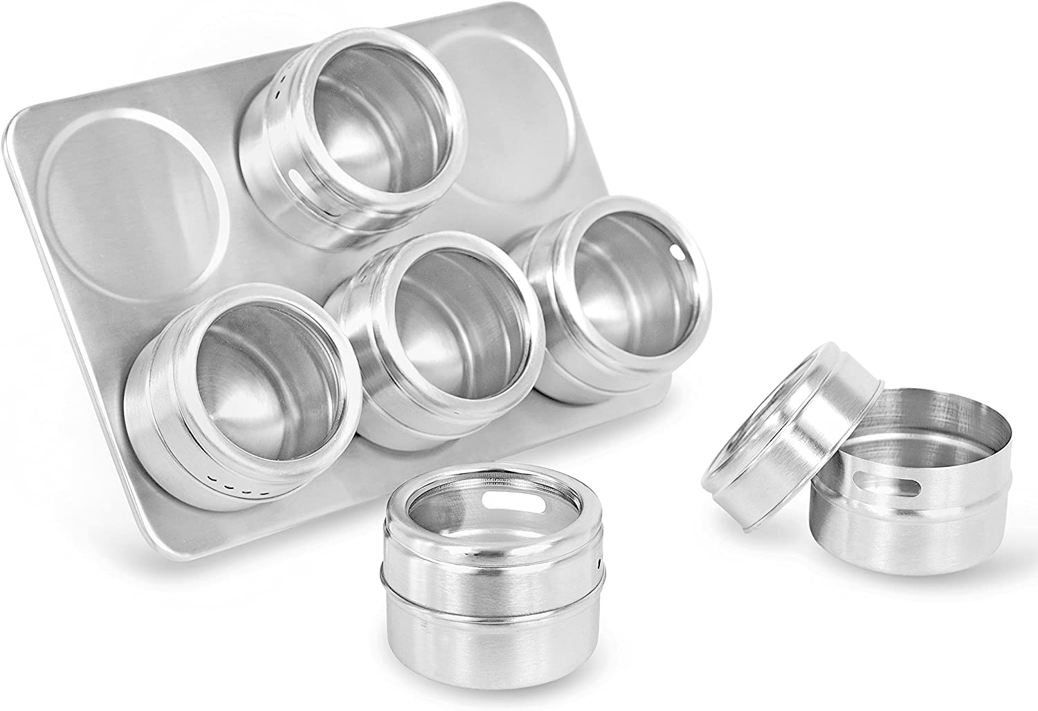 Internet's Best Magnetic Spice Rack - 6 Jars - Round Storage Spice Rack Set - Clear Sift and Pour Lid - Stainless Steel