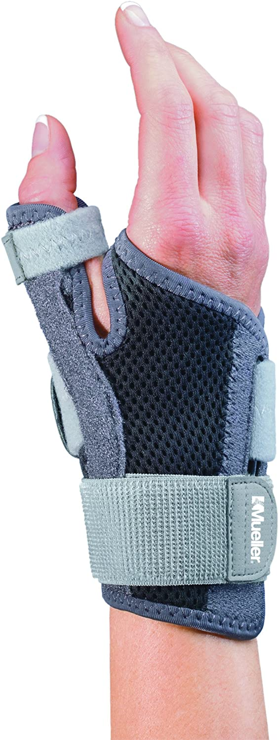 Mueller Sports Medicine Adjust-to-Fit Thumb Stabilizer, Gray, One Size Fits Most: Health & Personal Care