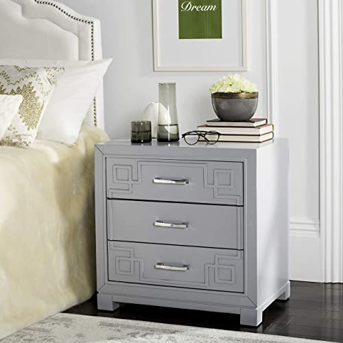 Safavieh Home Collection Raina Grey 3-Drawer Greek Key Nightstand