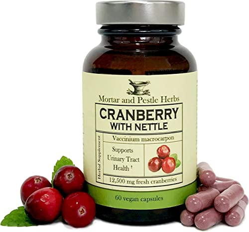 Mortar and Pestle Herbs – Extra Strength Cranberry Pills with Organic Nettle – 12,500 mg Fresh Cranberries per Capsule, Optimizes Urinary Tract UTI Health – Vegan and GMO Free – Made in the USA