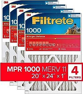 Filtrete 20x24x1, AC Furnace Air Filter, MPR 1000, Micro Allergen Defense, 4-Pack (exact dimensions 19.81 x 23.81 x 0.81)